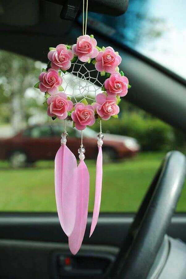 filtro dos sonhos pequeno decorado com pequenas rosas ao redor do aro Foto Ser yo misma