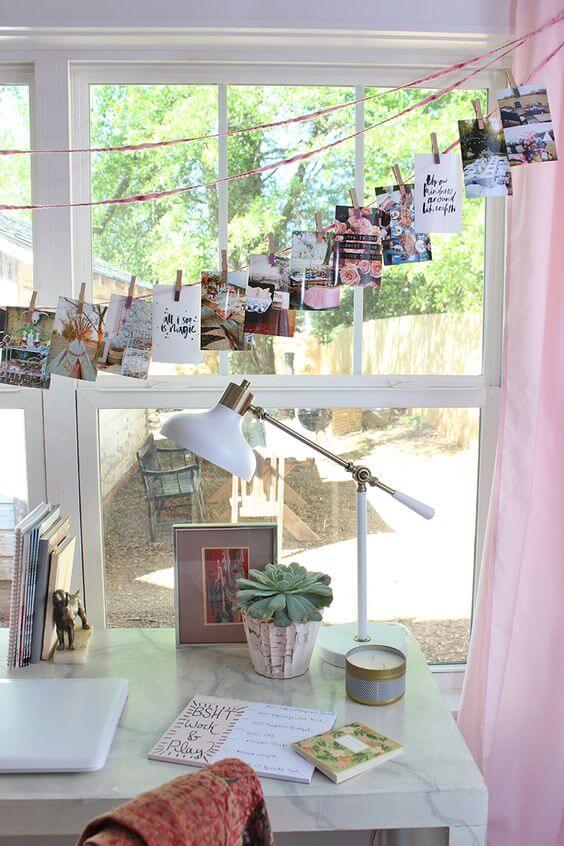 Varal de fotos no home office