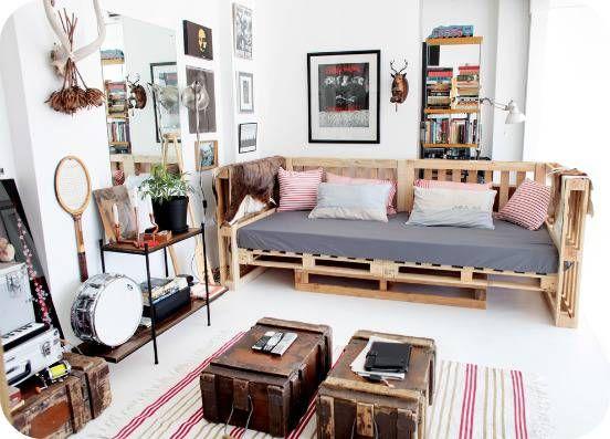 Sofá de palete diy para sala moderna