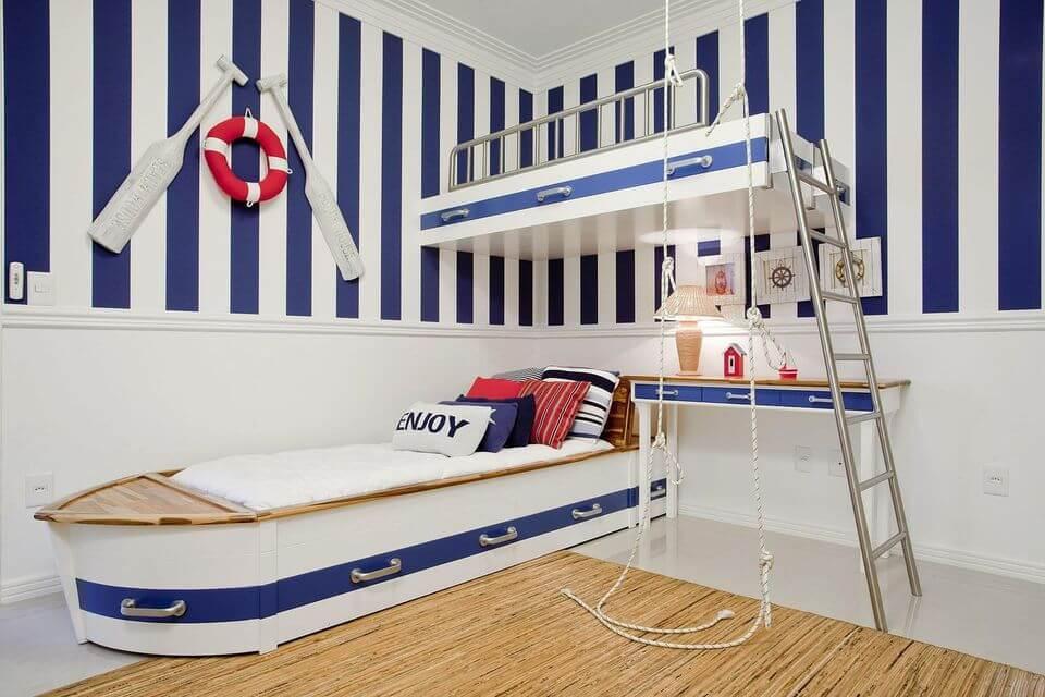 como colocar papel de parede - quarto infantil com decoração de marinheiro