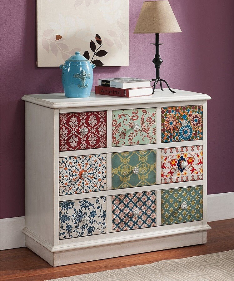 custom dresser with patchwork of colorful fabrics
