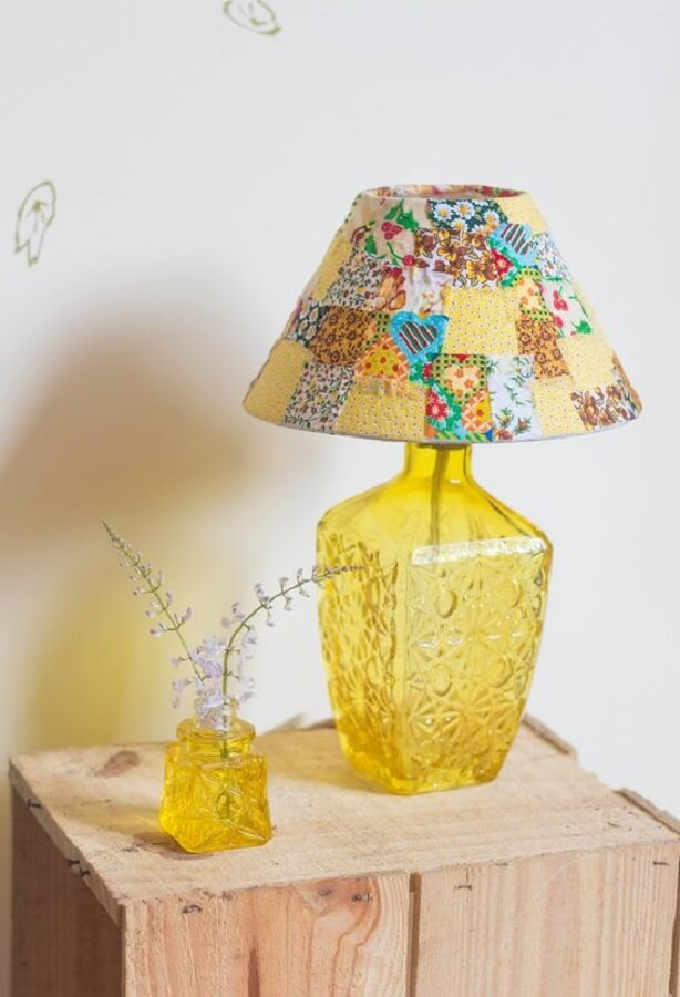 lampshade dome made with fabric scraps