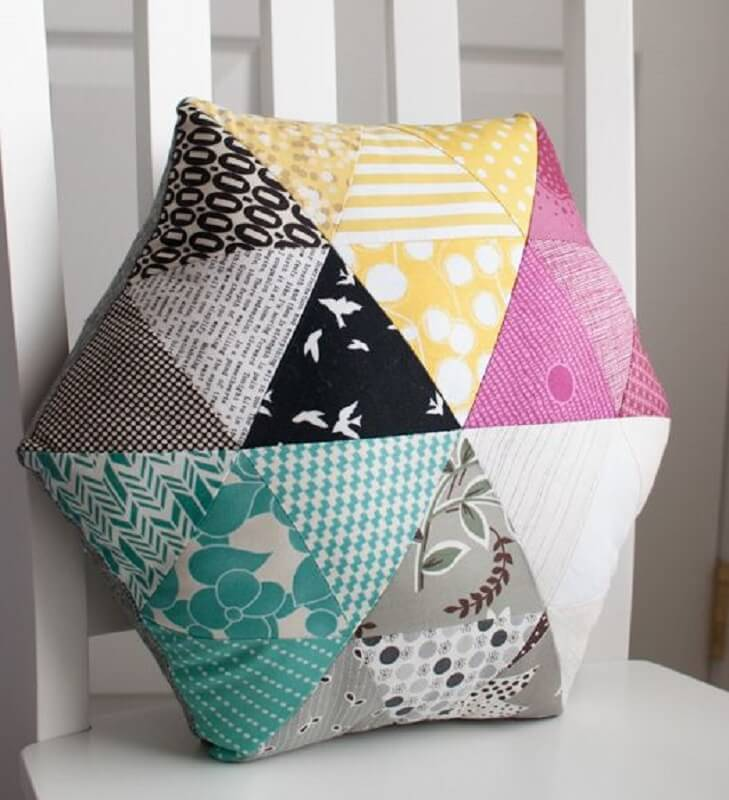 colorful cushion with fabric scraps