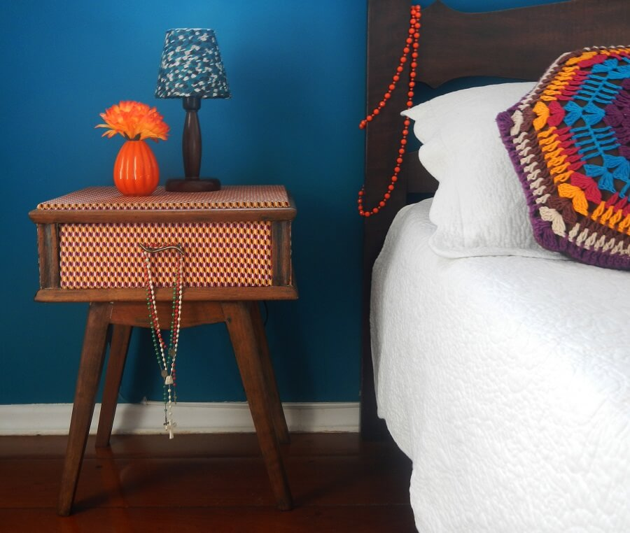 retro nightstand decorated with fabric scraps