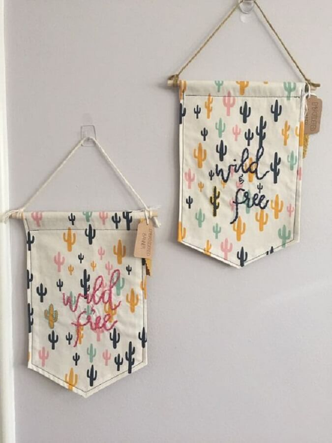 wall flecks made with fabric scraps