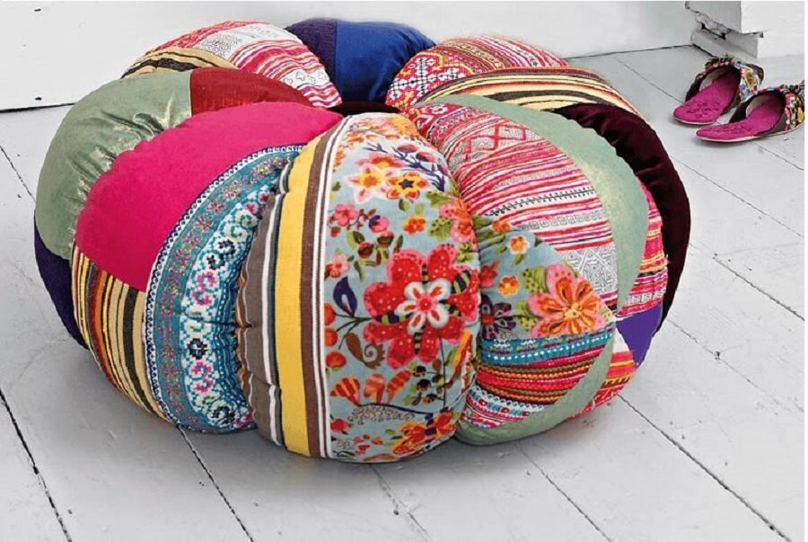 round puff made with colorful patchwork
