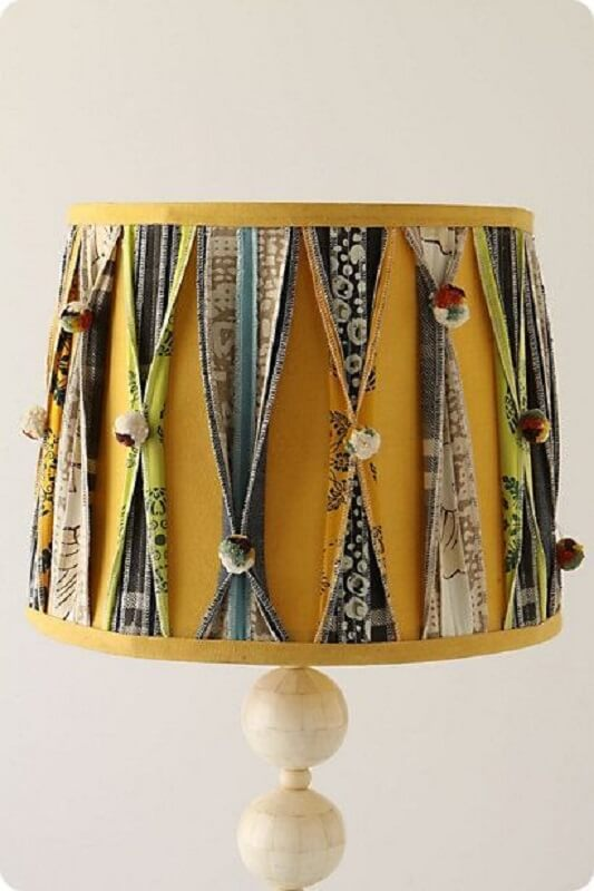 patchwork of fabric to decorate yellow lampshade dome