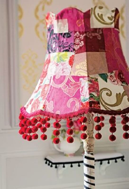 patchwork of fabrics for antique lampshade