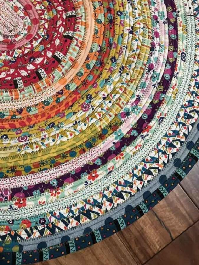 round colored patchwork rug