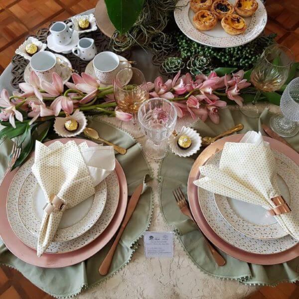 Jogo americano redondo de tecido para mesa de café da manhã