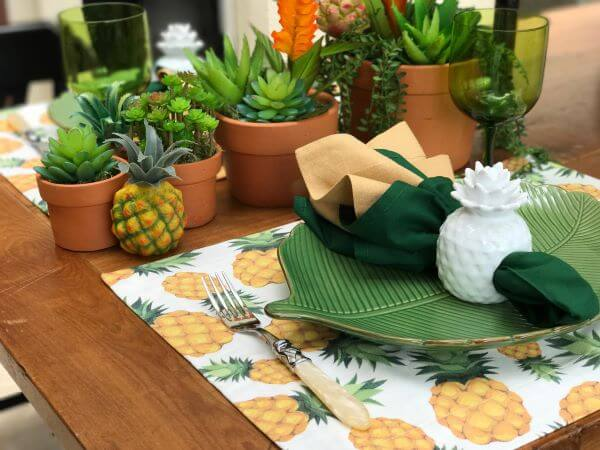 Jogo americano de tecido estampado de abacaxi