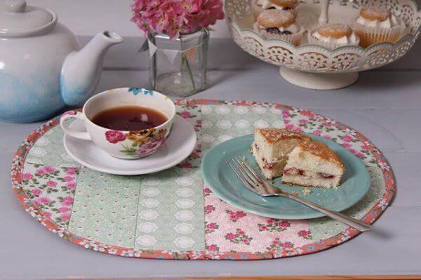 Jogo americano de tecido patchwork para café da manhã