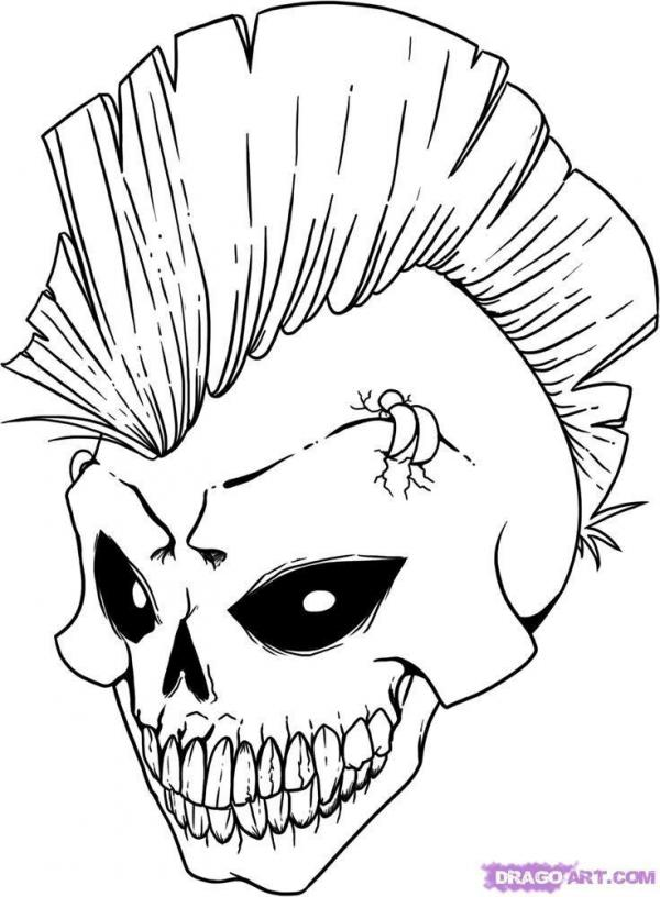 Skulls to colour - Step 1