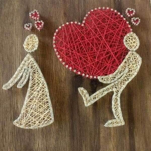 Presentei seu amor com um lindo quadro string art