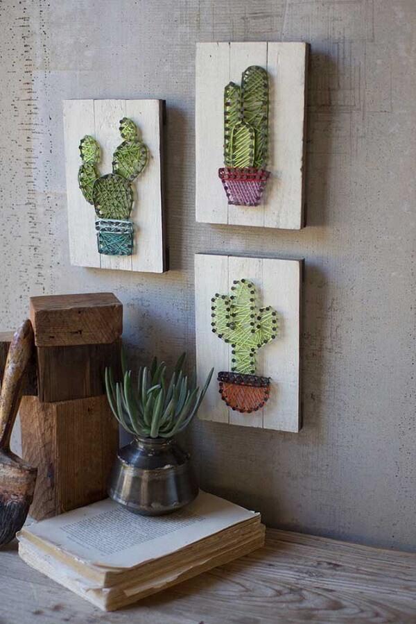 Decore seu ambiente com quadros de string art de cacto