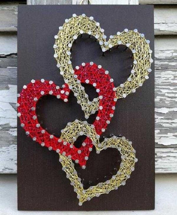 Os moldes de string art de coração são os mais procurados
