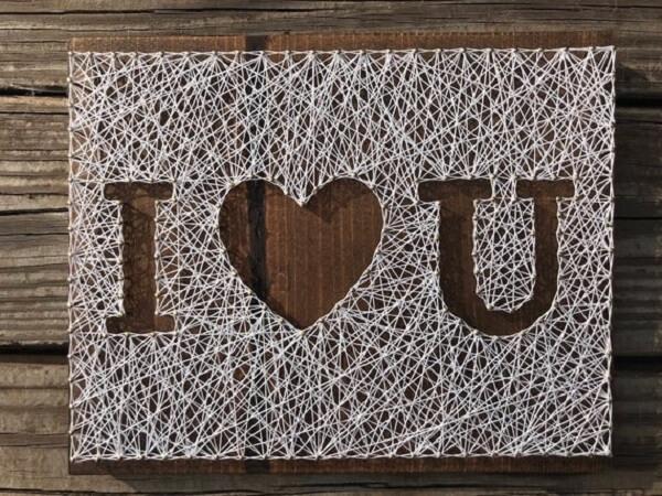 Molde string art para decoração romântica