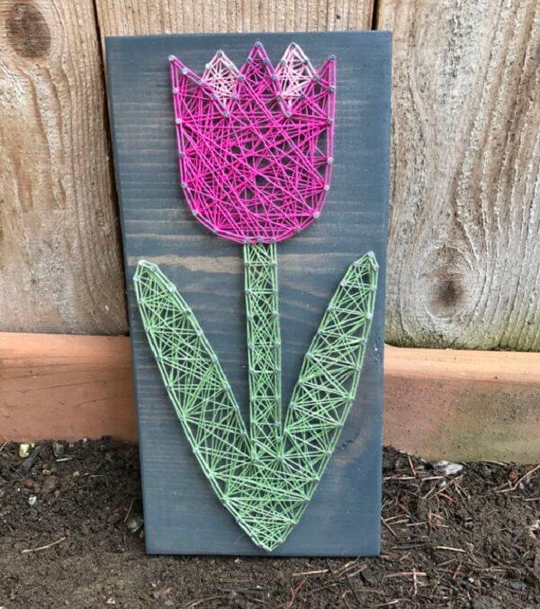 Molde string art com imagem de tulipa