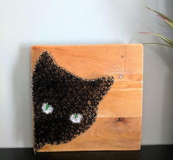 Quadro string art de gato não passa despercebida no ambiente