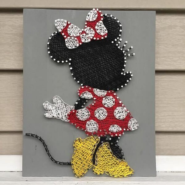 O quadro string art da Minnie faz muito sucesso