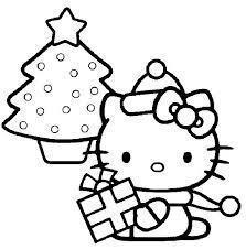 Christmas trees to color - Hello Kitty Christmas to color