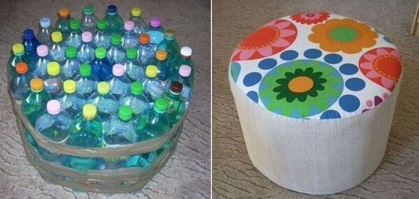 Puff de garrafa pet redondo simples