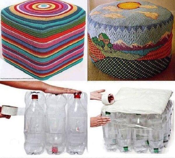 Como fazer puff de garrafa pet com acabamento em crochê