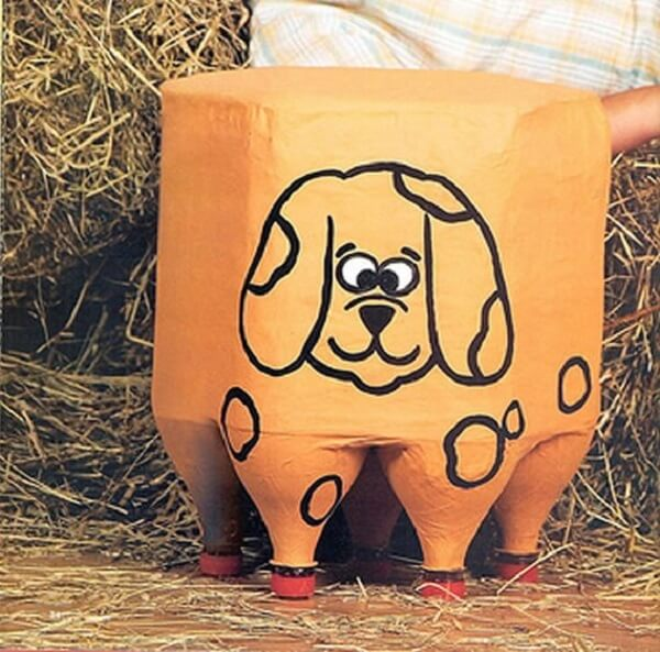 Puff de garrafa pet com desenho de cachorrinho