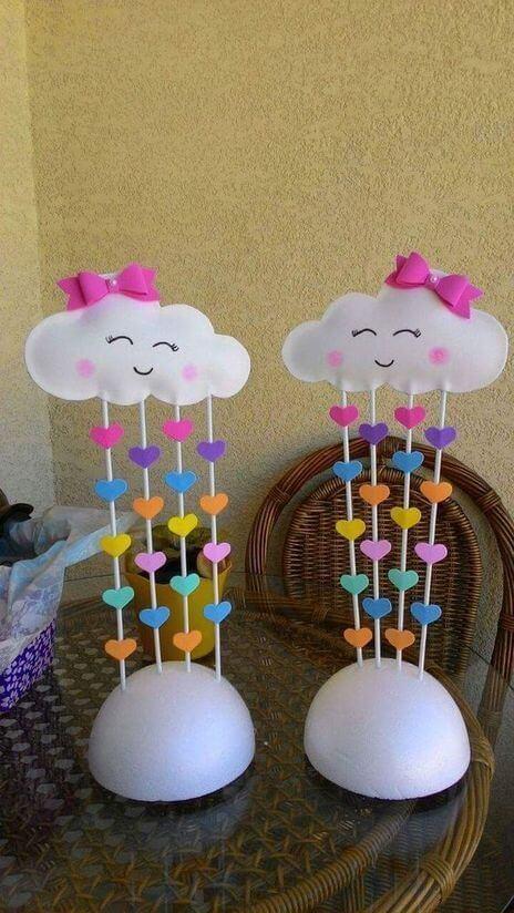 Decoração de festa com nuvem de feltro