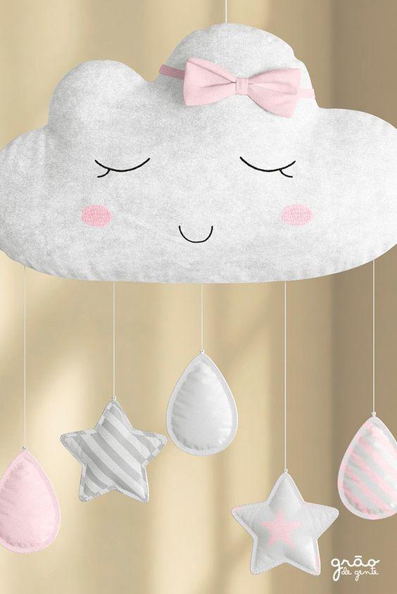 Mobile nuvem de feltro com estrelas e gotas
