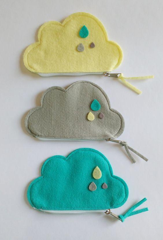 Porta moedas feito de nuvem de feltro