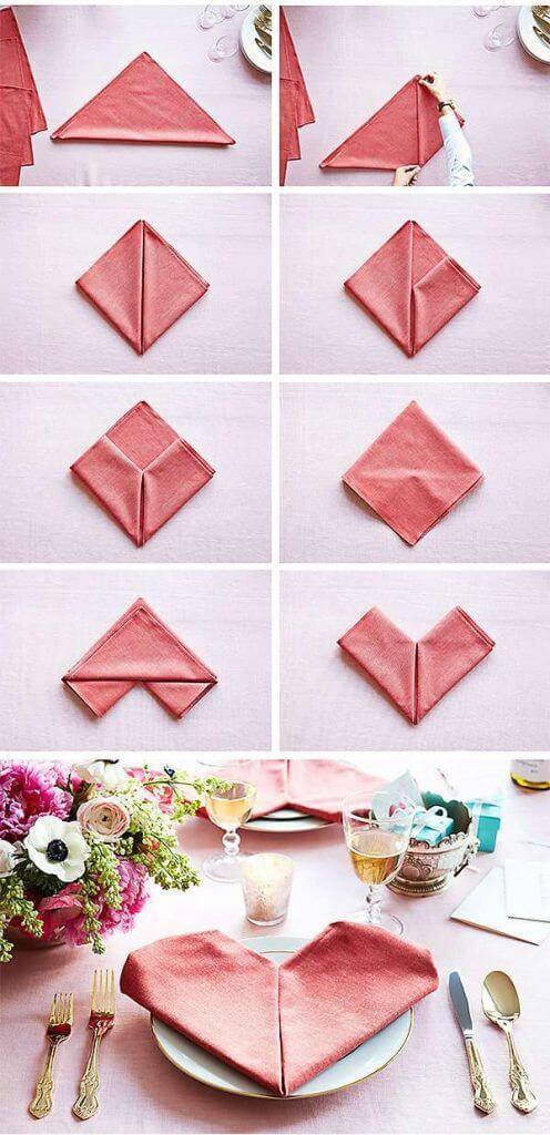 Como dobrar guardanapo em formato de coração