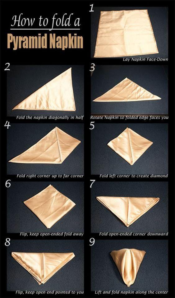 Como dobrar guardanapo pirâmide