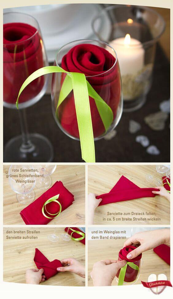 Tutorial de como dobrar guardanapo de pano no copo