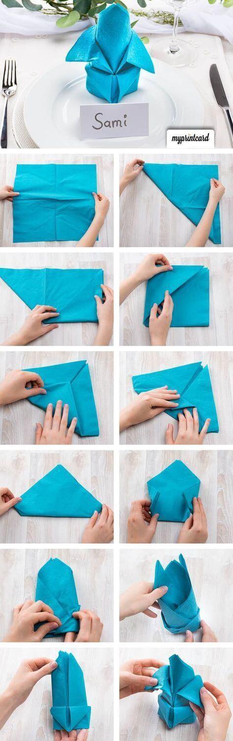 Tutorial como dobrar guardanapo de pano