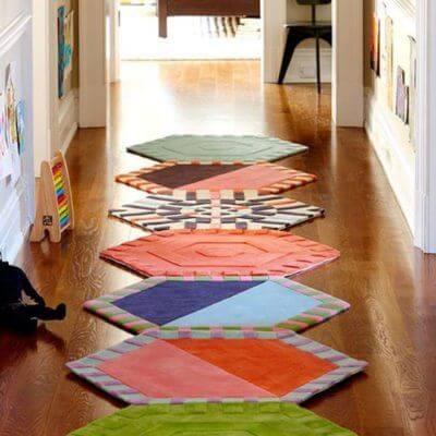 Tapete artesanal de tecido em patchwork