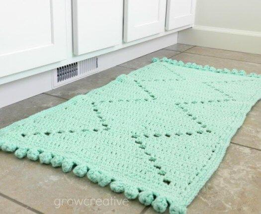 Tapete de crochê azul para cozinha moderna