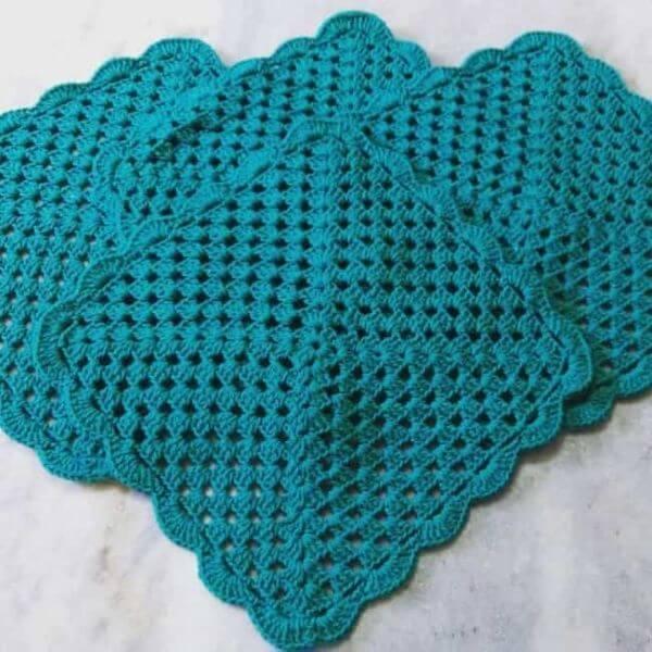 Tapete de crochê para iniciantes azul