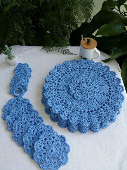 Crochê para iniciantes azul