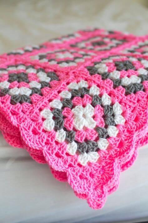 Crochê para iniciantes rosa e cinza