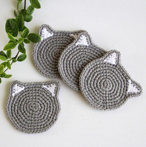 Porta copos de crochê para iniciantes de gato