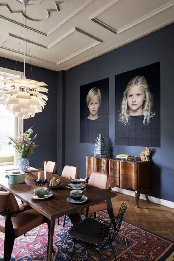 Quadro de fotos para decoração da sala de jantar
