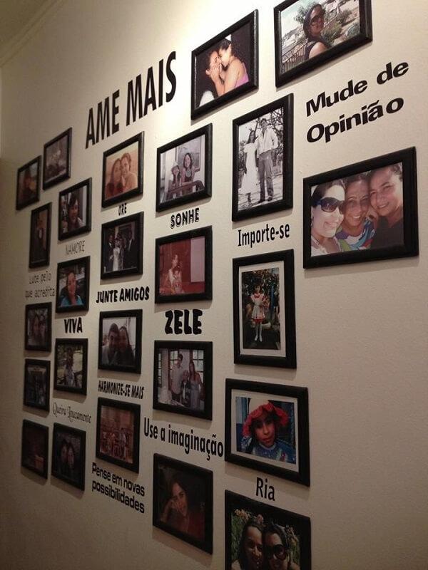 Aposte em quadro de fotos com adesivos de parede