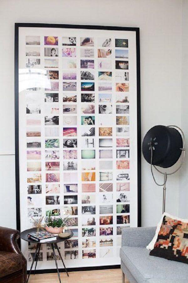 Posicione inúmeras imagens em um quadro de fotos gigante
