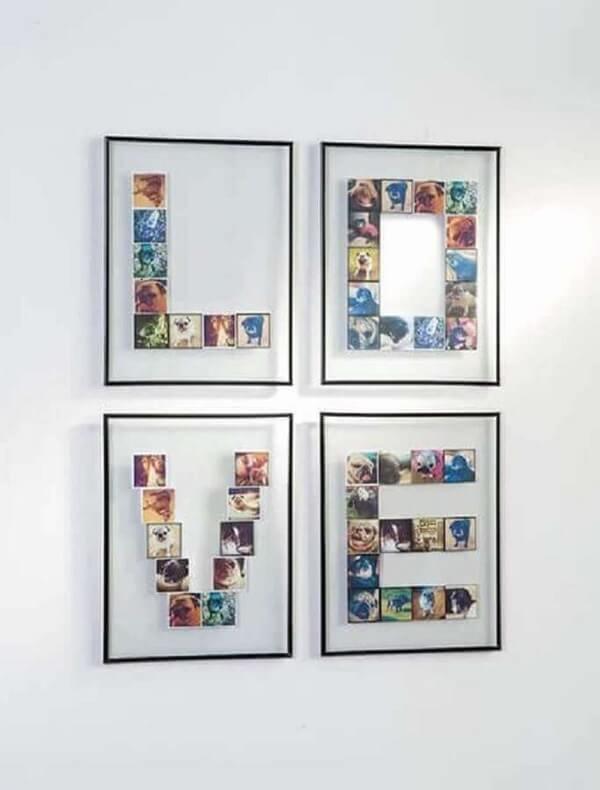 Quadro de fotos compondo a letra LOVE