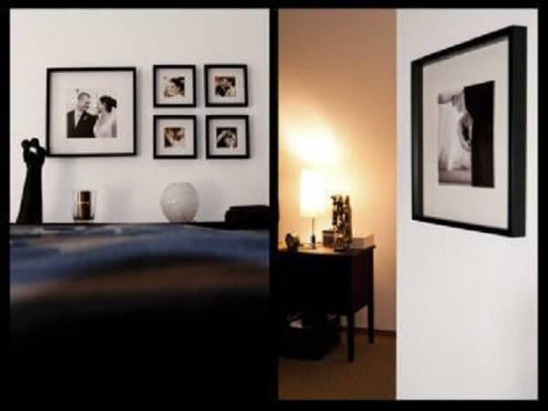 Quadro de fotos para o quarto de casal