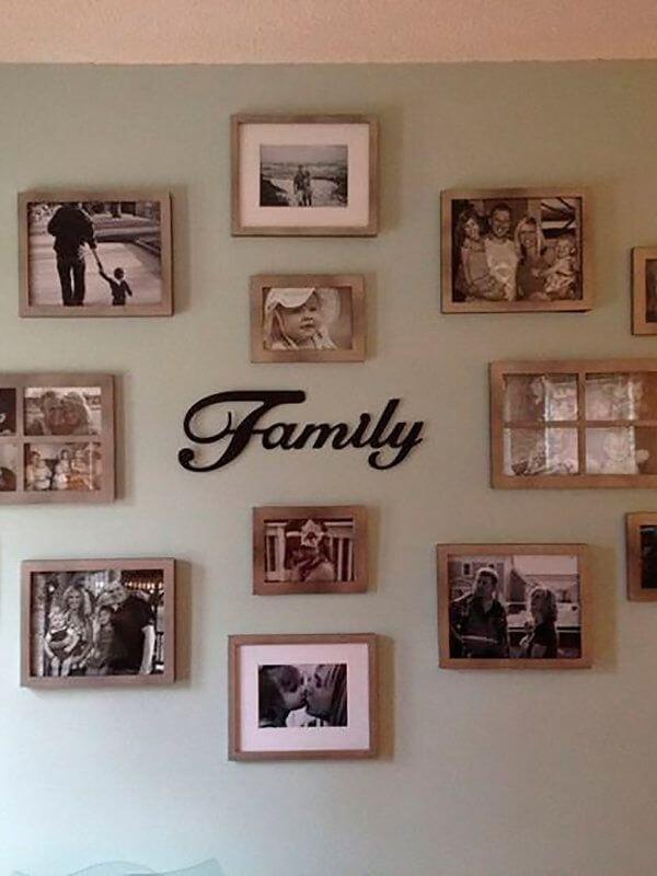 Quadro de fotos retrata momentos em família