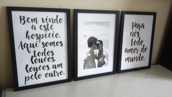 Trio de quadro de fotos para casal