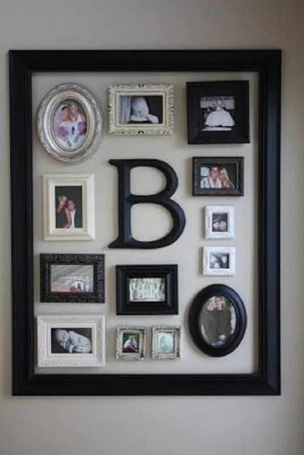Mescle elementos decorativos incluindo um quadro de fotos dentro do outro
