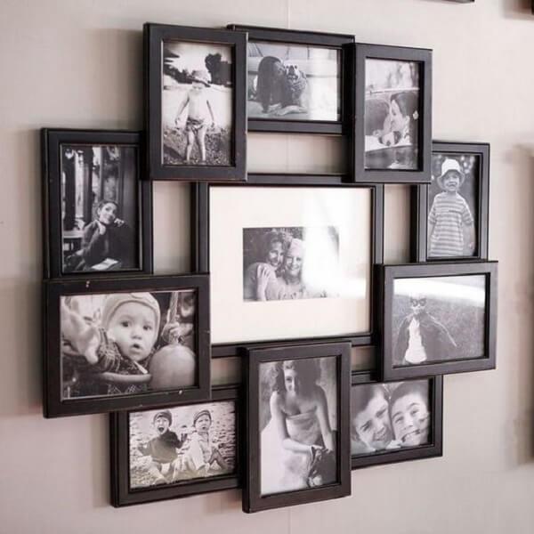 Quadro de fotos com moldura interligada, possibilita expor várias imagens
